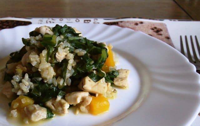 Integralni mesni rižoto s butternut tikvom i blitvom